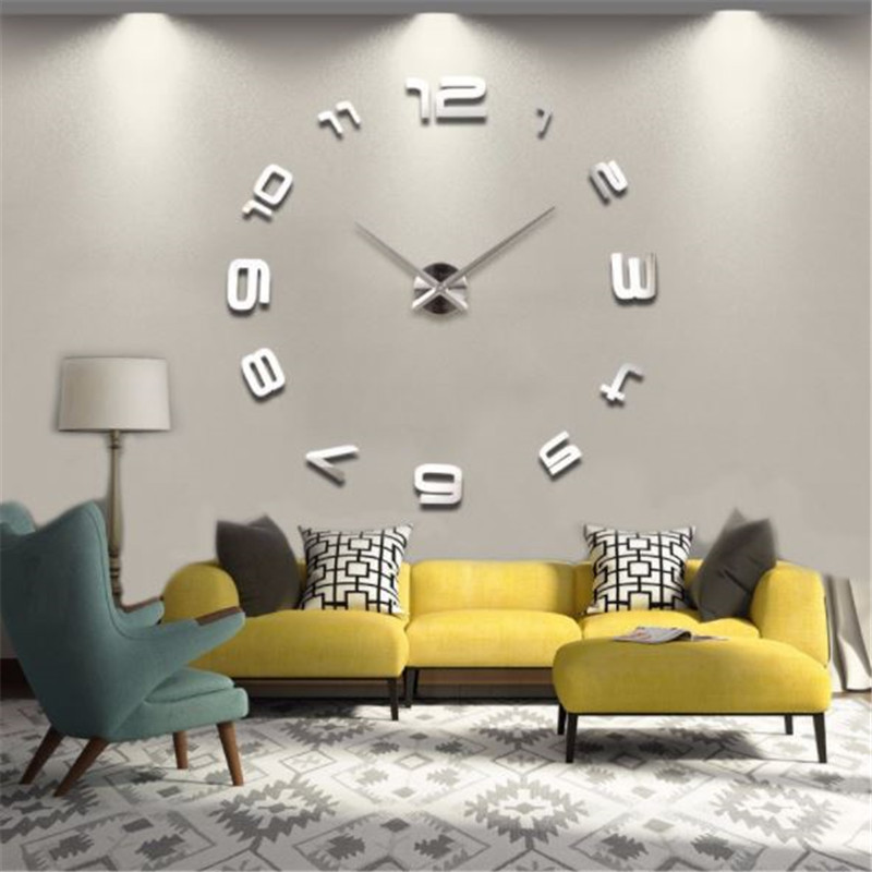 Decorative Wall Clocks modern design Wall Watch horloge mural 3D reloj pared Acrylic Mirror Sticker for Living Room Home Decor