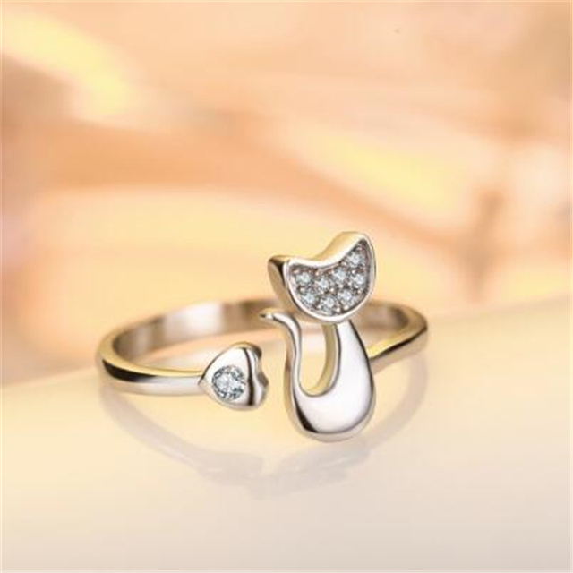 Full Zircon Filled Cute Cat Silver Ring for Women Silver Plated Wedding Bands Pa