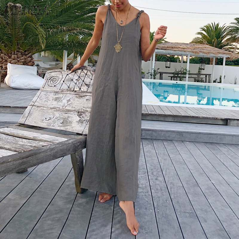 Fashion Women Rompers ZANZEA V Neck Straps   Jumpsuits   Summer Beach Wide Leg Overalls Casual Loose Playsuit Solid Streetwear Pants