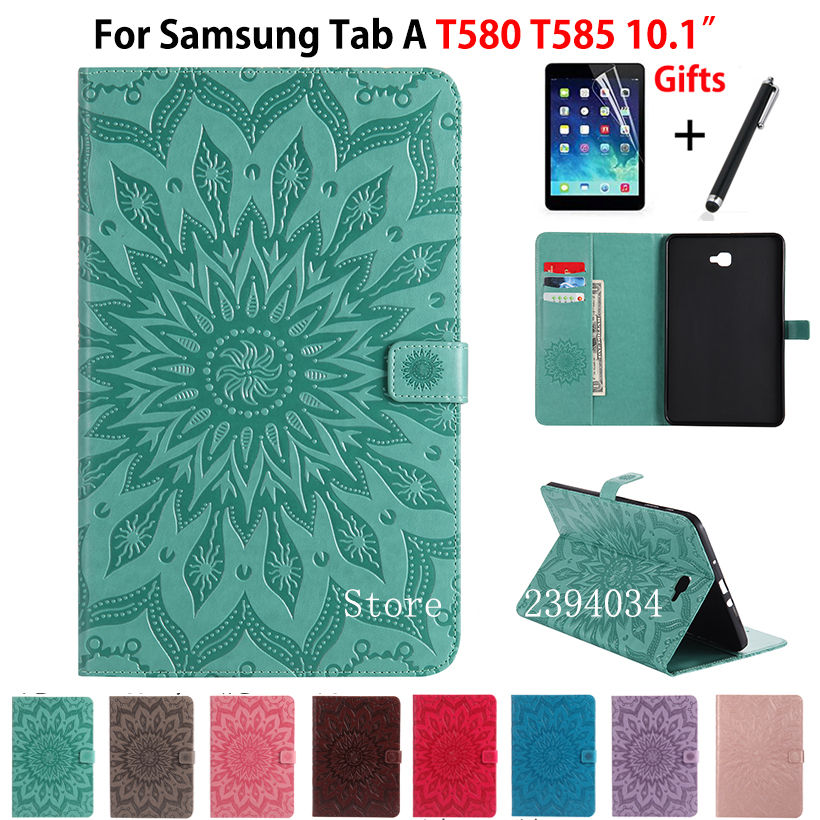 Fashion Tablet PU leather Case Cover For Samsung Galaxy Tab A A6 10.1 2016 T580 T585 SM-T585 T580N Funda Skin Shell +Film +Pen fashion flowers case for samsung galaxy tab a a6 10 1 2016 t580 t585 sm t585 case cover tablet stand pc pu leather shell funda