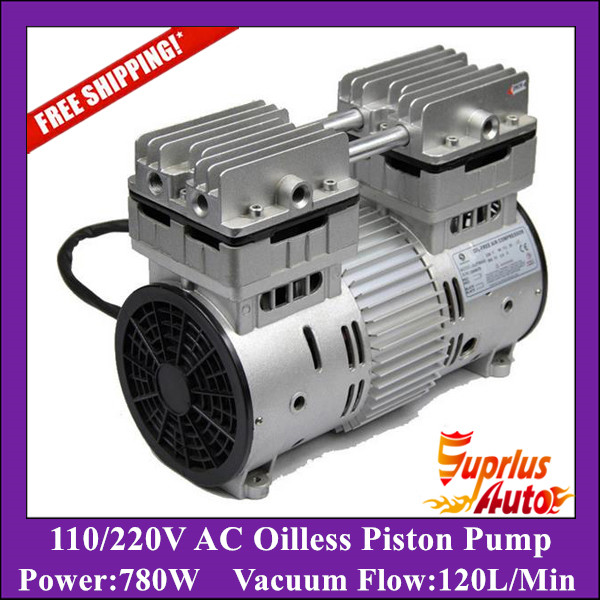 Free Shipping AC 110/220v 780w HYW-780 Oilless High Pressure Piston Compressor Pump with 120L/min vacuum flow цены