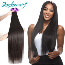 Rosa Beauty Hair Brazilian Hair Weave Bundles Straight 100% Human Hair Extension Weft Remy Hair 28 30 32 40 Inch Double Drawn(China)