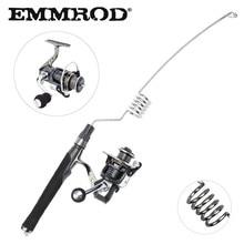 EMMROD Spinning Fishing Rod Set 57cm Mini Protable Stainless Metal rod +all steel fishing reel  Ice Rock fishing Gear PZ-SG