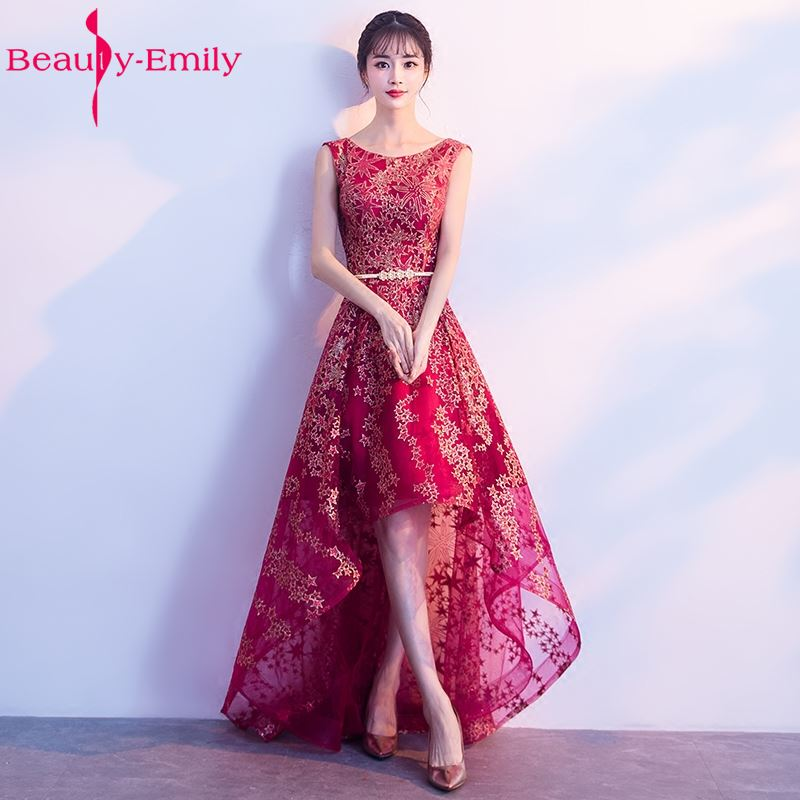 Beauty Emily New Arrival Long Wine Red Evening Dresses 2018 Sleeveless Floor-Length Sweep Formal Party Prom Dress