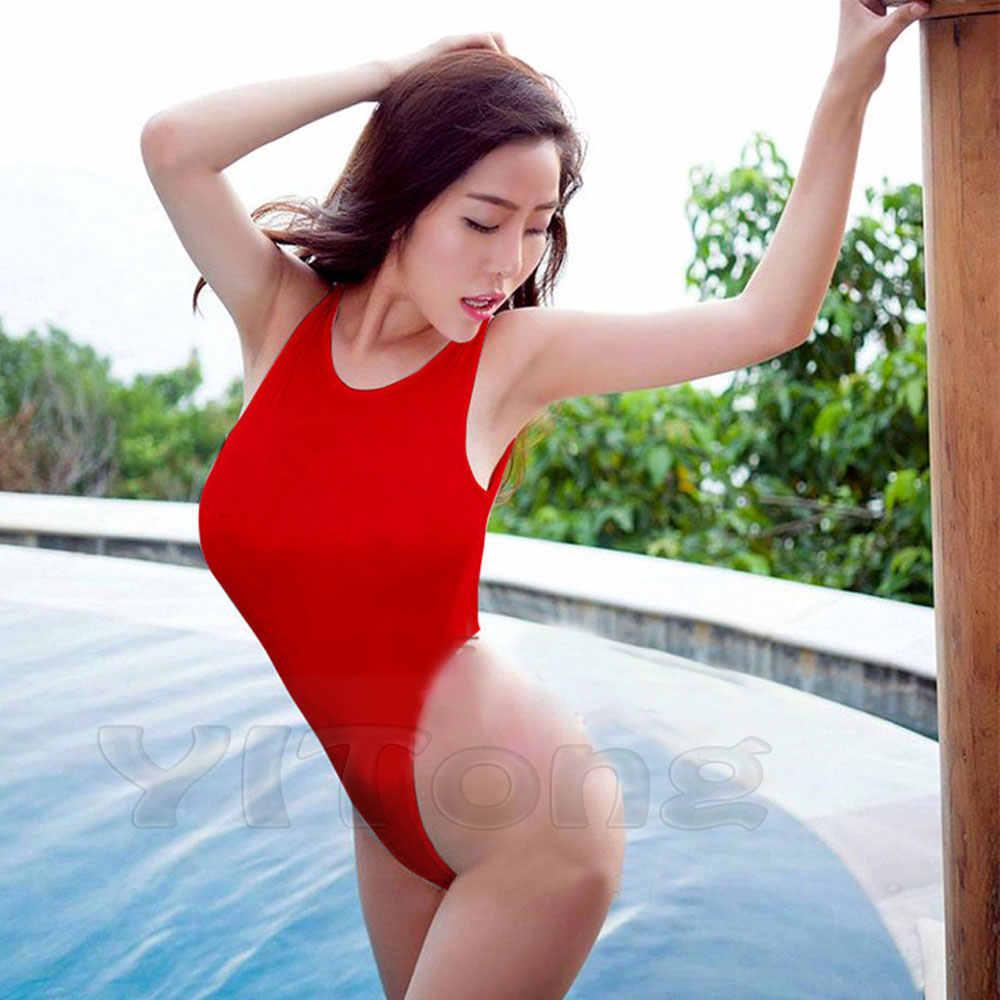 Ukuran Bebas Seksi Tinggi Dipotong Satu Potong Baju Renang Susu Sutra Erotis Pakaian Dalam Wanita Club Pole Dance Memakai Thong Bodysuit Triko top