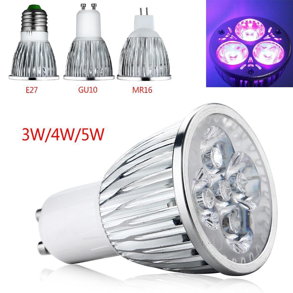 3W 4W 5W E27 GU10 AC 85-265V UV LED Ultraviolet 395-400nm Spotlight Lamp Bulb MR16 12V Violet Light NEW High Quality
