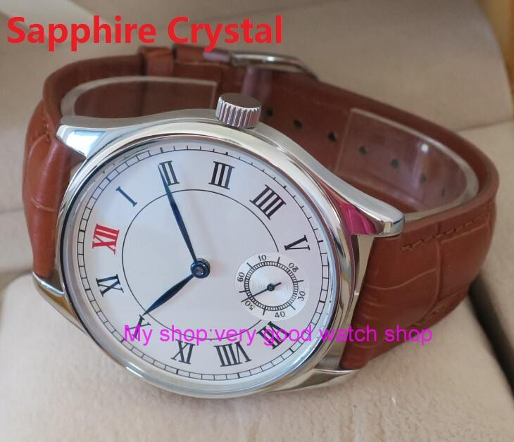 Sapphire Crystal 44mm PARNIS White dial Asian 6498 Mechanical Hand Wind movement men's watch Mechanical watches 199 44mm parnis white dial asian 6498 3621 mechanical hand wind movement men s watch mechanical watches rnm9