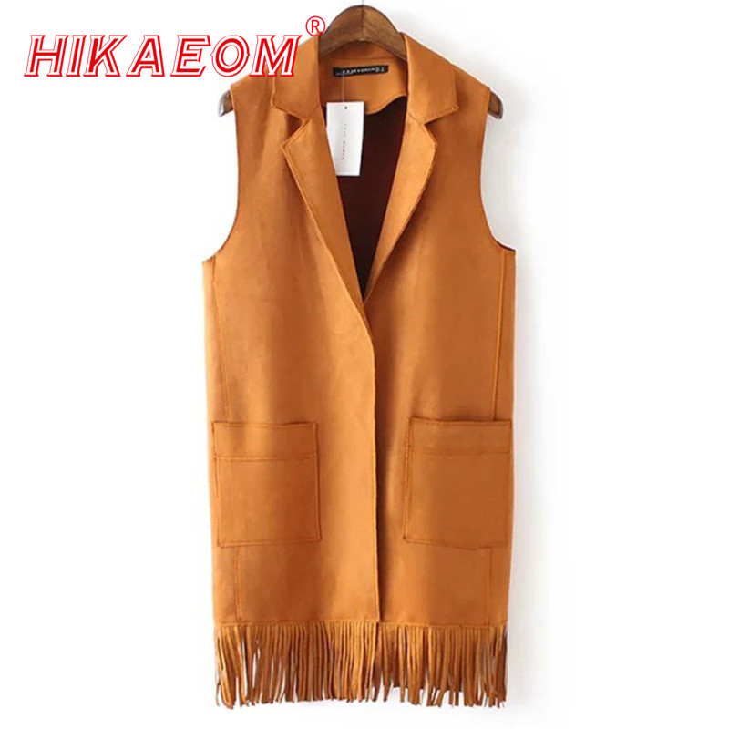 Sale Tassels Vest Womens Turn Down Collar Suede Vests Factory Price Europe Womens Winter Vest Wholesale Solid Fringed Waistcoat