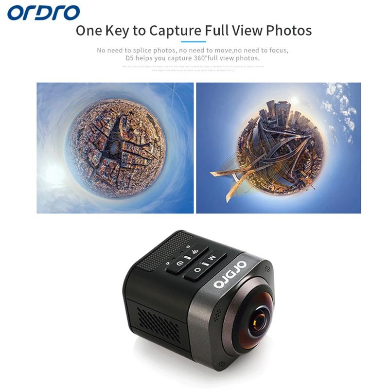 Ordro D5 Ultra HD Wifi Mini Panoramic Action Camera 3280*2464 Panorama Camera 360 Degree Sport Driving VR Camera soocoo 360 degree action video camera wifi 4k 24fps 2 7k 30fps ultra hd sport driving 360 camera with remote control