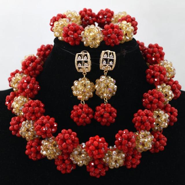Fantastic Red Gold Big Crystal Balls Statement Necklace Set Indian