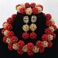 Fantastyczna Czerwony Złoty Big Crystal Balls Oświadczenie Naszyjnik Zestaw QW122 Indyjski Ślub Zestaw Biżuterii dla Kobiet Free shipping