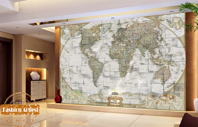 Custom Vintage Wallpaper Mural National Geographical Detailed World Map Tv Sofa Bedroom Living Room Cafe Bar