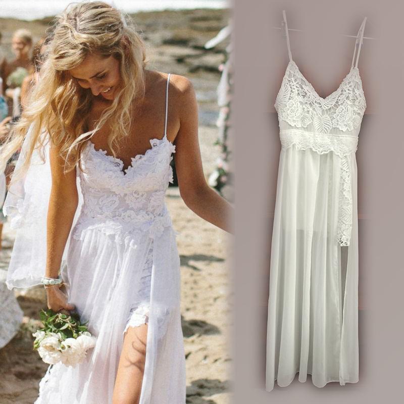 White Summer Lace Beach Wedding Dress
