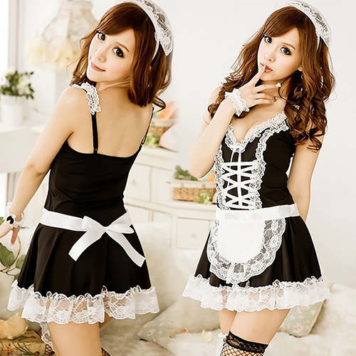 Sexy Maid Servant V-Neck Dress + Headband + Panties 3 Pieces Cosplay Sleepwear