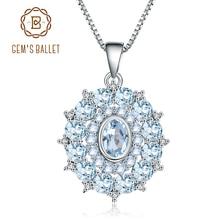 GEMS בלט 4.85Ct טבעי שמיים כחול טופז 925 כסף סטרלינג חן בציר תליון שרשרת תכשיטים נשים חתונה