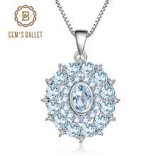 GEMS BALLETT 4,85 Ct Natürliche Sky Blue Topaz 925 Sterling Silber Edelstein Vintage Anhänger Halskette für Frauen Hochzeit Edlen Schmuck