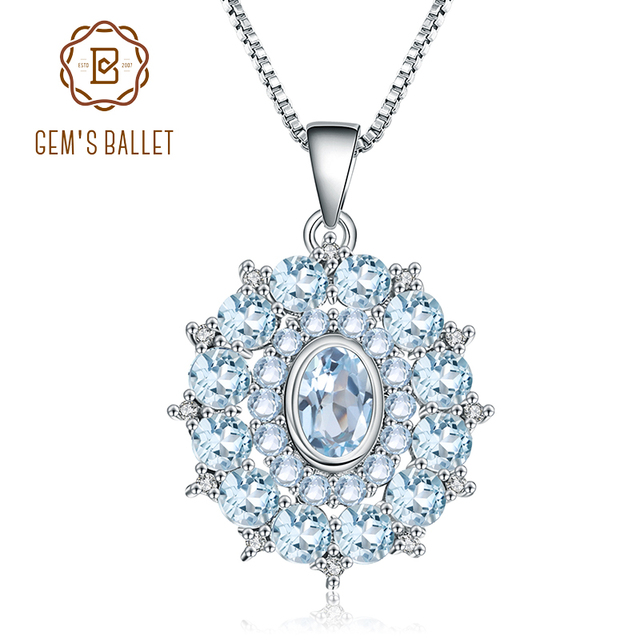 Gems バレエ 4.85Ct 天然スカイブルートパーズ 925 スターリングシルバー宝石用原石ヴィンテージペンダントネックレス結婚式ファインジュエリー用