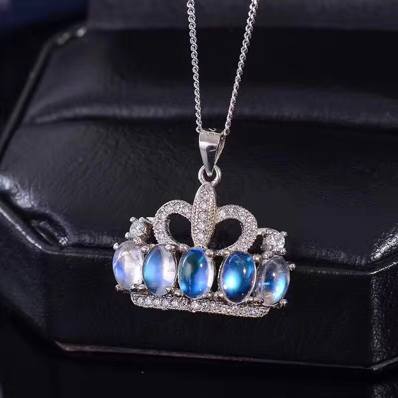 Natural Moonstone Necklace, Blue Moonstone, Crown Style, Gem Clean, 925 Silver Ladies NecklaceNatural Moonstone Necklace, Blue Moonstone, Crown Style, Gem Clean, 925 Silver Ladies Necklace