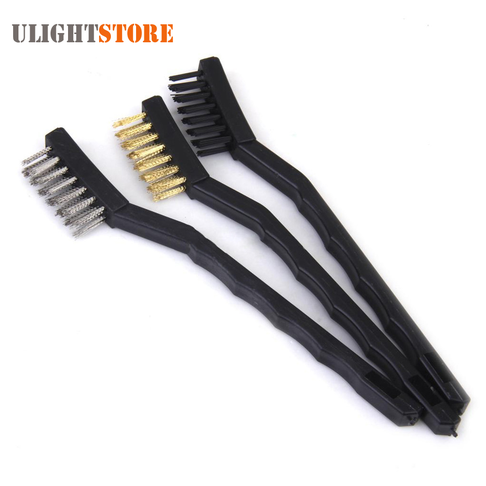 3pcs Mini Wire Brush Set Nylon Brass Stainless Steel Wire Brush for Cleaning Scrubbing Paint Rust Dirt Grime Removal