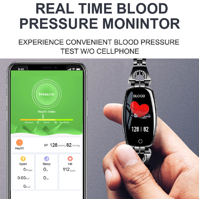 MNWT H8 Fashion Smart Wristwatches Women Digital Watches Ladies 2019 Waterproof Heart Rate Monitoring Bluetooth For Android IOS 1