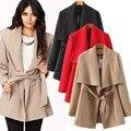 Com cinto de estilo europeu e americano mulheres de inverno jaqueta cáqui