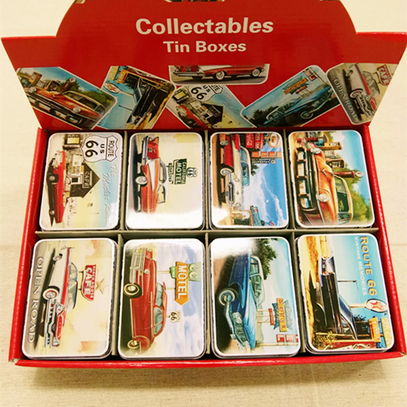 New Arrival 16pcs/lot Vintage Style CAR ON ROAD ROUTE 66 Metal Storage Box Card Box 8 mixed Designs Candy Box Shop Decor