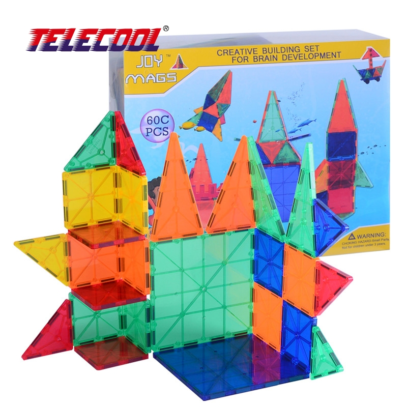 TELECOOL 34/44/62 PCS Magnetic Tiles Models Blocks DIY Building Toys Inspire Adult & Kids Learning Educational MAGNETIC Toy telecool circuits smart electronic block w 58 kit integrated circuit building blocks educational science innovation learning toy