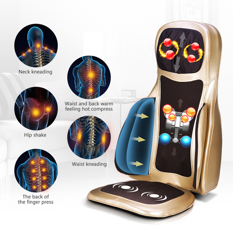 3D Roller Electric Massage Chair Home Office Seat Massager electric Heat Vibrator Cushion Body Back Neck Lumbar Pad Seat Shiatsu tapping massage cushion 3d new massager whole body massage chair mat for sale