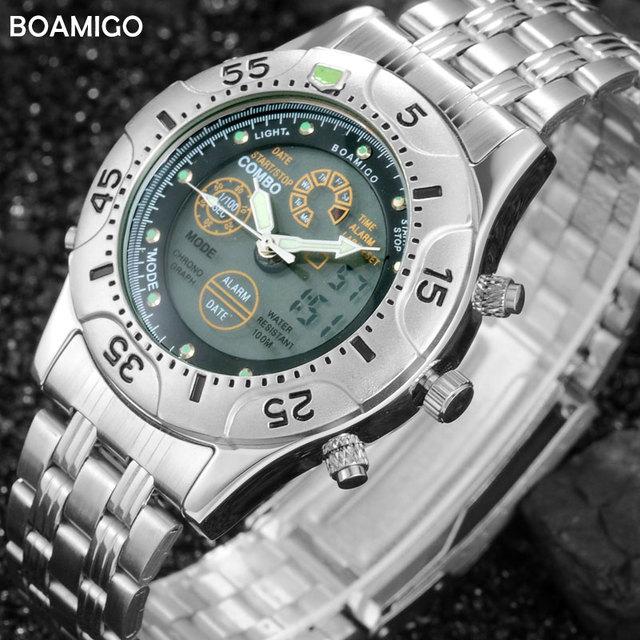 Hombres deportes relojes de doble pantalla digital led relojes electrónicos relojes de cuarzo boamigo marca 2017 moda de acero relojes de pulsera de regalo