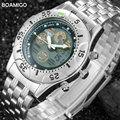 men sports watches dual display digital LED watches Electronic quartz watches BOAMIGO brand 2017 fashion steel gift wristwatches