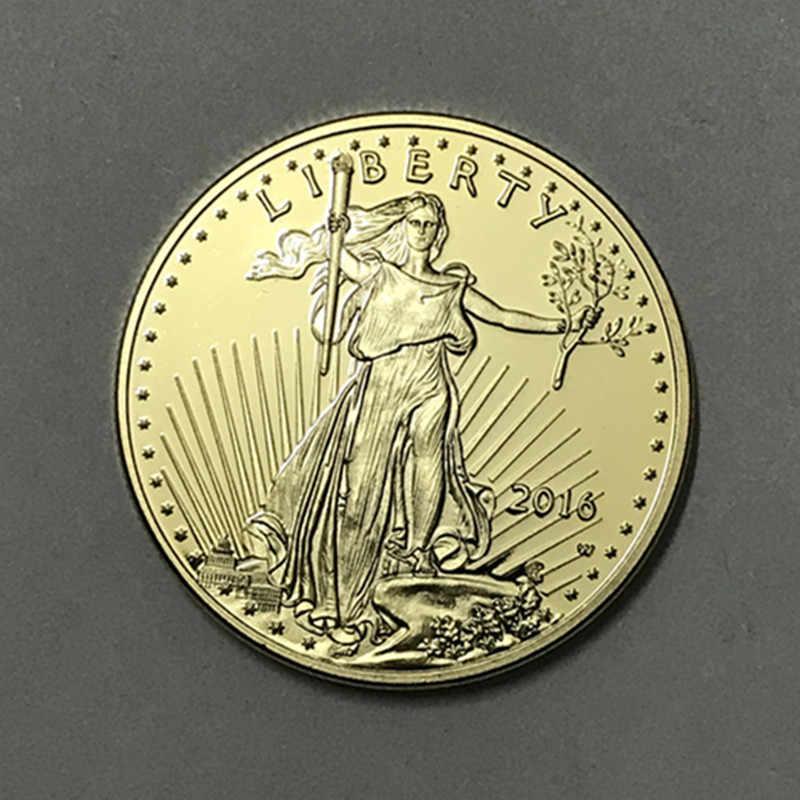 """1 יחידות את חופש 2016 חירות מטבע ללא מגנטי 24 K זהב אמיתי מצופה מזכרת תג ארה""""ב נשר 32.6 מ""""מ מטבע"""