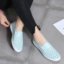 Women Flat Shoes Casual Summer White Comfortable Hole Slip on Footwear Breathable Leather Loafers mocasines de mujer