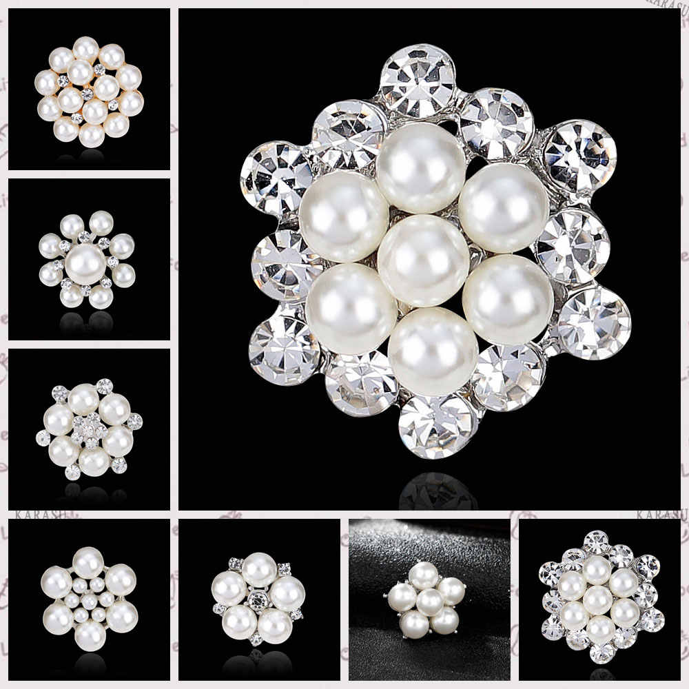 DIY Bouquet Bridal Wedding Accessories Simulated Pearl Rhinestones Flower Brooches for Women Brooch Pins Jewelry
