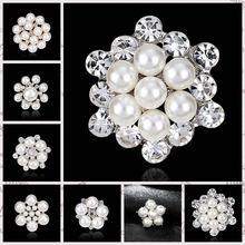 b88a7526c DIY Bouquet Bridal Wedding Accessories Simulated Pearl Rhinestones Flower  Brooches for Women Brooch Pins Jewelry