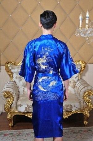 Шанхай История Китайских людей Атласная Полиэстер Вышивка Халат Кимоно Ночная Рубашка Дракон Пижамы Ml XL XXL XXXL 5 цвет