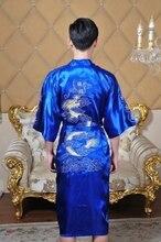 Shanghai Geschichte Chinesischen herren Satin Polyester Stickerei Robe Kimono Nachthemd Drache Sleepwear M L XL XXL XXXL 5 farbe