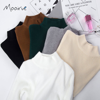 Mooirue Autumn High Neck Sweater For Women High Stretchy Long Sleeve Solid Knitted Pullover White Jumper