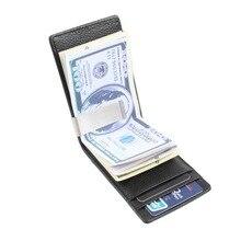 Mince Hommes Money Clip Noir En Cuir Véritable Porte-Monnaie Pince Pour de l'argent Avec la Carte Attente De Luxe Hommes Portefeuilles Inoxydable Voler Clip l'argent