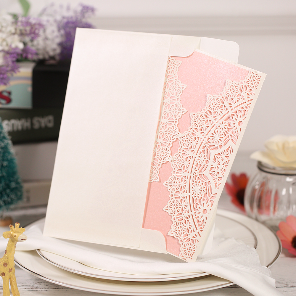 10Pcs Laser Cut Wedding Invitation Cards Set Lace Pattern Cards Kit with Envelope Card Inner Sheet for Bridal Wedding Party square design white laser cut invitations kit blanl paper printing wedding invitation card set send envelope casamento convite