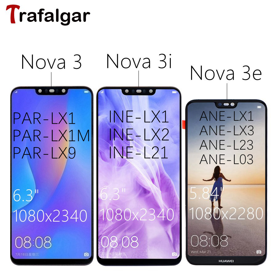 Trafalgar Huawei Nova 3 LCD Display Touch Screen PAR LX1 LX9 3i INE LX2 L21 Display