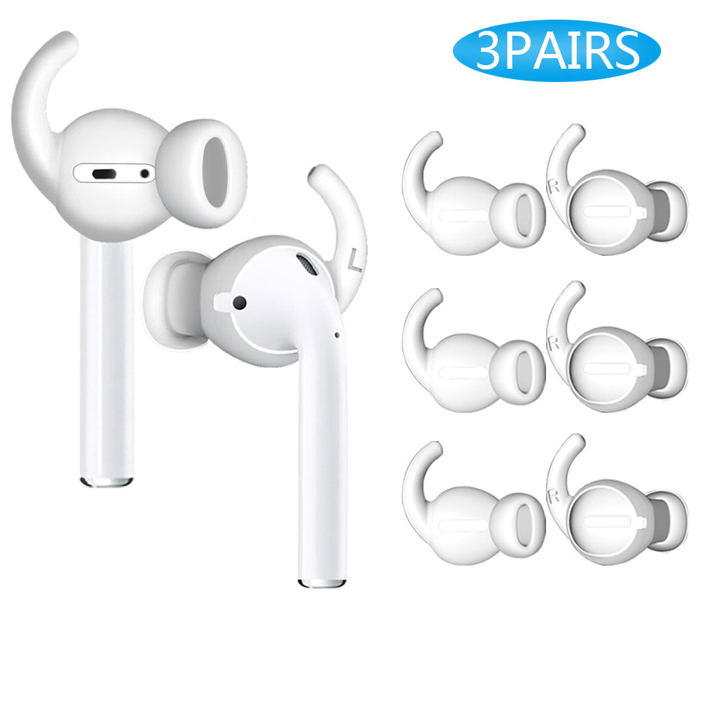 3 Pairs Bluetooth Earphone Accessories In-Ear Caps Ear Groove Hooks Silicone Cover For Airpods/Earpods For Apple Wired Earphone