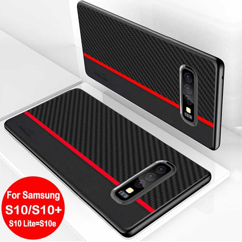 สำหรับ Samsung Galaxy S8 S9 S10 Plus S10e หมายเหตุ 9 M10 M20 M30 A7 A8 A9 2018 A30 A50 A70 case Original คาร์บอนไฟเบอร์หนัง