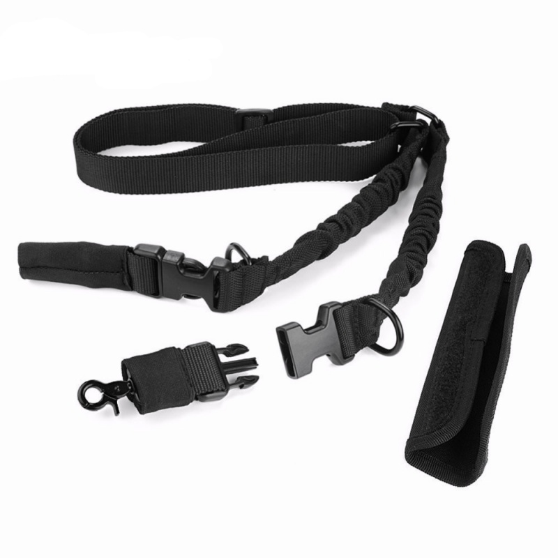 CQC Airsoft Tactical Two Point Bungee Rifle Gun Sling 2 Point Hunting Strap With QD Buckles & Shoulder Pad