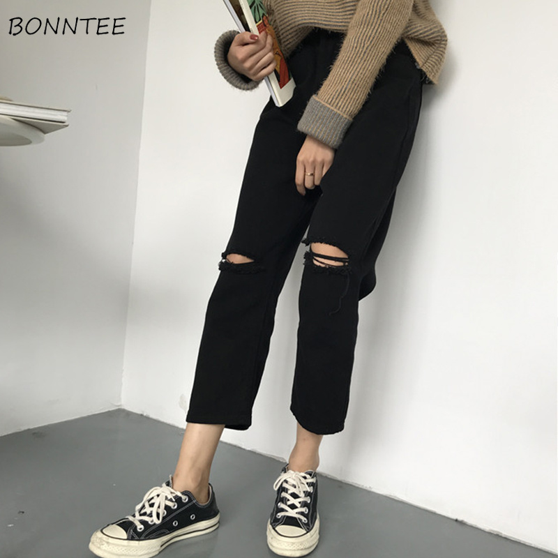 Jeans Women Ripped Hole High Waist Zipper Fly Button Straight Ankle-length Womens Trousers Basic Bottoms Black Jean Femme Chic