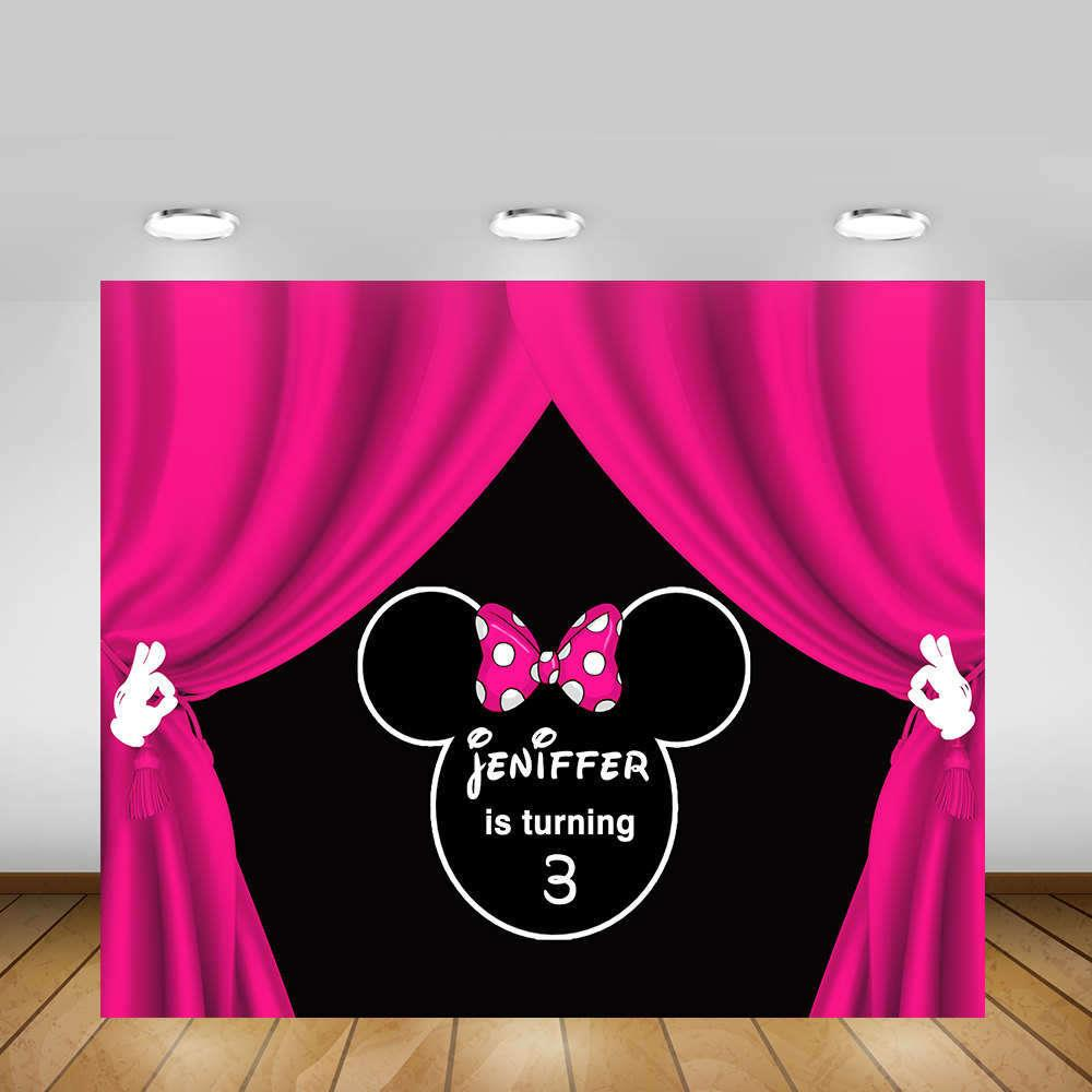 Custom Minnie Mouse Pink Curtain photo backdrop polyester or Vinyl cloth High quality Computer print birthday background цена и фото