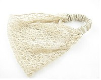 NEW Wholesale and Retail fashion korea style beige flower knitted lace wide elastic hairband headband hair accessories