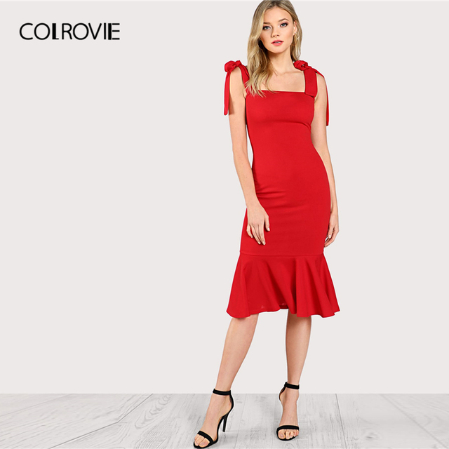 COLROVIE Red Ruffle Fishtail Tied Strapped Glamorous Bodycon Dress Women 2019 Summer High Waist Elegant Mermaid Long Dress