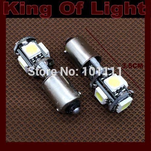 10x Free shipping Car Auto LED BA9S 6523 1895 H6W T4W 5 led smd 5050 CANBUS OBC ERROR FREE LED Light Bulb Lamp 5SMD White