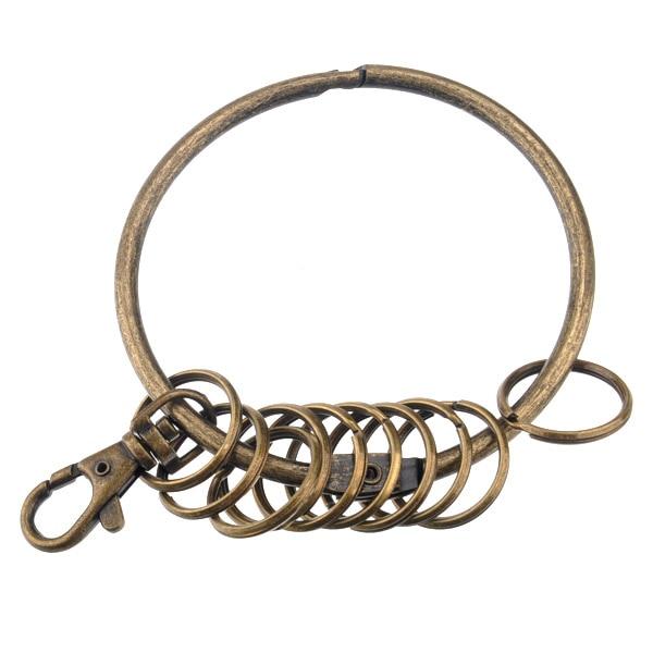 Retro Large Circular Shaped Metal Keychain Key Holder Key Ring with 10 Rings (Bronze) keychain holder key ring with vine bottle pendant 3pcs