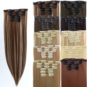 JINKAILI 24Inchs 16 Clips in Hair Extensions Long Straight Hairstyle Synthetic Blonde Black Hairpieces Heat Resistant False Hair